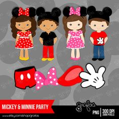 MICKEY & MINNIE PARTY  Digital Clipart  Mickey and Minnie / Instant Download