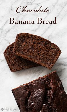 Chocolate Banana Bread ~ Tender, chocolatey chocolate banana bread! Double chocolate with cocoa and chocolate chips. ~ SimplyRecipes.com