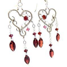 Red Garnet Silver Earrings Handmade Jewelry by AssiaDesigns,