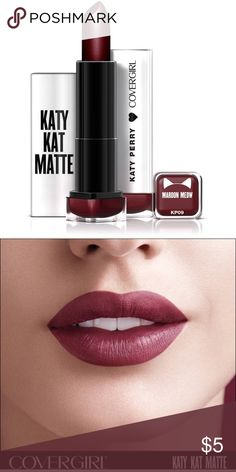 Katy Kat Matte Maroon Meow Brand new, never opened or used Covergirl Katy Kat Matte lipstick in Maroon Meow. Maroon Matte Lipstick, Maroon Lips, Best Lipstick Color, Best Lipsticks, Makeup Lipstick, Eyeshadow, Covergirl, Cover Girl Makeup, Makeup Package