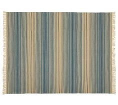 Dennis Stripe Recycled Yarn Indoor/Outdoor Rug - Blue #potterybarn-Blue-$349.00; New Online Only; Oeko-Tex; 8 x 10'