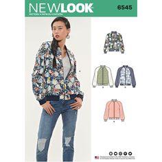 New Look Pattern 6545 Misses' Flight Jacket 6 - 18 New Look Patterns, Sewing Patterns, Vogue Patterns, Simplicity Patterns, Vintage Patterns, Clothing Patterns, Patterned Bomber Jacket, New Look Women, Diy Vetement