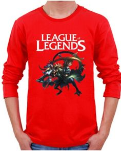 XXXL League of Legends tshirt long sleeve for men Twitch printed-