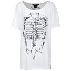 Thomas Wylde T-Shirt Bones White Oversize shirt with print (€698) ❤ liked on Polyvore featuring tops, t-shirts, shirts, tees, women, t shirts, white t shirt, long sleeve tee, print t shirts and skeleton long sleeve shirt