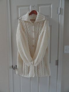 Hand knit wool sweater sweater coat by MariyaMitov on Etsy Sweater Coats, Wool Sweaters, Wool Yarn, Warm And Cozy, Hand Knitting, How To Make, How To Wear, Etsy, Shopping