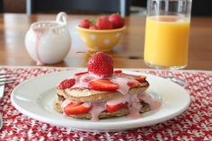 Strawberry Shortcake Healthy Pancakes w/ Chobani Sauce