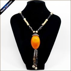 Vintage Tribal Drop Resin Beads Yak Bone Carving  Strand Pendant Long Statement Necklace Jewelry For Women Gift #Affiliate