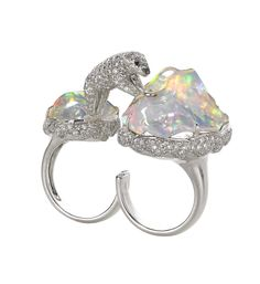 Michael John Jewelry. White gold & diamond Gwennie, the polar bear jumping between opal icebergs ring 2014...♡