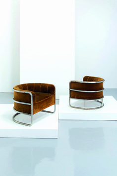 Lot : GIUSEPPE DE VIVO - 2 - Coppia di poltrone, De Vivo 1935. Metallo cromato, velluto[...] | Dans la vente Design - 2nd Part à Wannenes Art Auctions