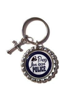 Pray For Our Police Keychain With Cross Charm, Police Gift, Police Support, Police Officer, Thin Blue Line, Back The Blue, Prayer Keychain