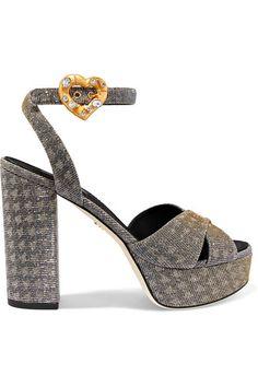 DOLCE & GABBANA | Embellished lamé platform sandals #Shoes #Sandals #High_Heel #DOLCE & GABBANA