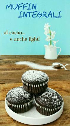 Muffin light con farina integrale al cacao e zucchero di canna