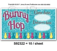 S92322 -wp- Bunny Hop Close Date PKMS -20 STICKERS