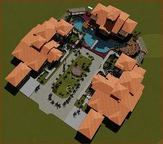 Vista elevada de todo el proyecto en la ciudad de Choluteca, Honduras villa Flores.  Arq. Hector Larios