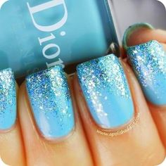 Blue Ombre Glitter nail art design ~ Dior: Saint Tropez (is a vibrant turquoise creme) with Nails Inc. Hammersmith glitter on the tips. ***I wonder if this is how Elsa's nails look? Love Nails, How To Do Nails, Fun Nails, Sparkle Nails, Gradient Nails, How To Ombre Nails, Gel Ombre Nails, New Year's Nails, Do It Yourself Nails