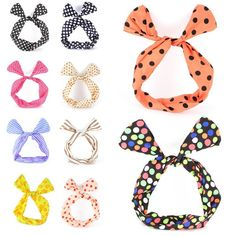 Ewandastore 10 pcs Twist Bow Wired Rabbit Ear Ribbon Headbands Scarf Wrap Hair Accessory Hairband ** Read more  at the image link.