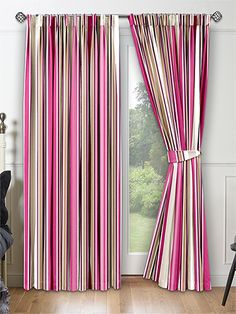 Pink And Cream Striped Curtains Pink and Orange Curtains