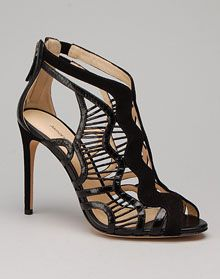 Alexandre Birman snake and suede cage sandal