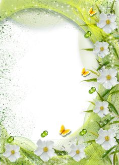 Beautiful Green Transparent Photo Frame with White Flowers.