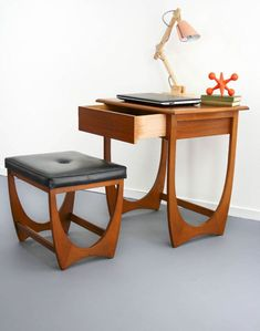 Mid Century Modern Desk Hall Table Drawer Console & Stool Vintage