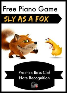 """This free """"Sly As A Fox"""" game teaches bass clef note recognition Piano Games, Piano Music, Music Games, Music Activities, Piano Lessons For Kids, Music Lessons, Bass Clef Notes, Piano Classes, Piano Teaching"""
