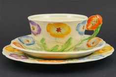 GRINDLEY Art Deco Cup Saucer Plate TRIO Moulded Pansy Flower Handle  1930s
