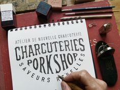 Hand lettering for Les Charcuteries Porkshop