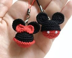 For Beginners Toys Mickey&Minnie Mouse crochet pattern Disney Minnie Mouse Keyring Mickey Mouse Key Chains Ornament pdf holiday gift pdf tutorial Crochet Gratis, Crochet Patterns Amigurumi, Crochet Toys, Free Crochet, Disney Crochet Patterns, Knitting Patterns, Crochet Baby, Crochet Mickey Mouse, Minnie Mouse