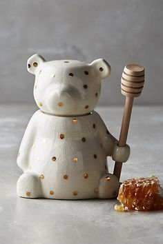 I'm not sure this could be any cuter!!Dottie Honey Pot #anthropologie Includes wood dipper, Handpainted stoneware, Hand wash, Imported, Dimensions 6''H, 3.25''W