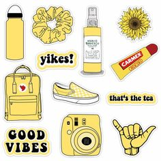 VSCO Vinyl Stickers Aesthetic,Trendy - VSCO Girl Essential Stuff for Water Bottles Stickers Suitable for Photo Sharing, Swimming,Outdoor(Yellow) Cute Laptop Stickers, Bubble Stickers, Cool Stickers, Free Stickers, Printable Stickers, Tumblr Sticker, Homemade Stickers, Journal Stickers, Aesthetic Stickers