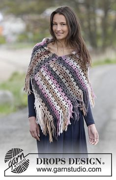 Looking for a stylish and unique poncho this season? You will love this wool poncho with variegated yarn and fringe accent.  The design is a