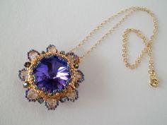 Amethyst Swarovski Rivoli Beadwork Gold Filled by MilenasBoutique, $48.00