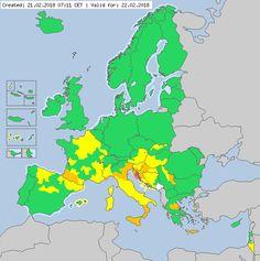 Meteoalarm - severe weather warnings for Europe - Valid for 22.02.2018