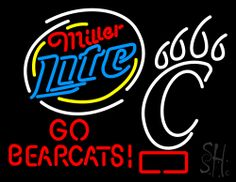Miller Light GO Bearcats Neon Sign 24 Tall x 31 Wide x 3 Deep, is 100% Handcrafted with Real Glass Tube Neon Sign. !!! Made in USA !!!  Colors on the sign are Red, White, Blue and Yellow. Miller Light GO Bearcats Neon Sign is high impact, eye catching, real glass tube neon sign. This characteristic glow can attract customers like nothing else, virtually burning your identity into the minds of potential and future customers.