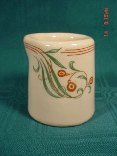 Vintage Mayer Somerset China Restaurant Creamer  ~Cream Red Green Floral Stripe #Mayer