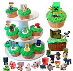 36 Minecraft Figure Cupcake Toppers And Temporary Tattoos Themed Birthday Cakes, Themed Cupcakes, Fun Cupcakes, Birthday Cake Toppers, Birthday Cupcakes, 7th Birthday, Minecraft Cupcake Toppers, Minecraft Birthday Cake, Minecraft Cake