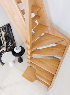 Solid wood contemporary staircase.