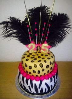 Two Tier Leopard and Zebra Print 25th Birthday Cake with Feathers by CORALICIOUS CAKES