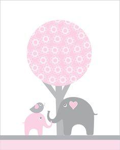 8X10 Pink and gray nursery wall art for girls door walstonprints