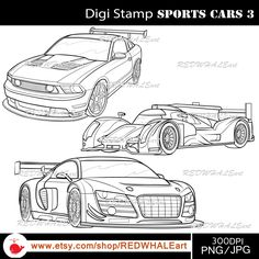Sports Cars3/ Black & White /Digital Images/ Clipart Elements Set / 3 PNG/JPG / For Personal and Commercial use/ Clip Art/ Instant Download by REDWHALEart on Etsy