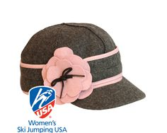 Petal Pusher Cap (in Charcoal & Pink) (Stormy Kromer) (23-25 oz. 80% wool / 20% nylon.100% cotton lining. Made in the USA with globally sourced materials. Dry clean only.)