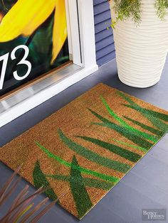 Make your house feel like home with a personalized welcome mat. These easy DIY designs start with simple materials and take on different personalities./