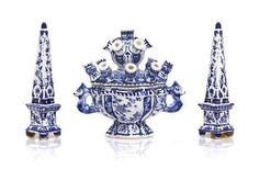 A lovely composition of Delftware comprising 2 Obelisks & a Tulipière - Height of tulipiere 1 3/4 inches.