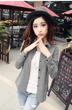 Japanese street fashion japanese fashion magazine japan store korean style chinese fashion trendy: Teen summer and winter 2015 College Wind Korean girl plaid long-sleeved shirt shirt junior high school students