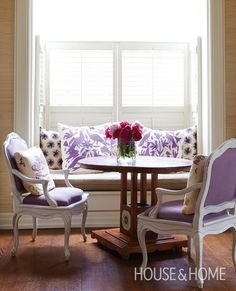 Nice way to weave in some Otomi.  House and Home - purple window seat built-in with shutters via @Remodelaholic