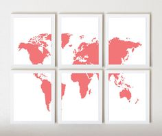Pink & White World Map in 6 Pieces by ThirdFloorDesign on Etsy, $45.00