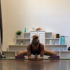 Day 19 #beginneryoga2015 @beachyogagirl @kinoyoga @mantraband is Frog Splits.  Try this! Put a soft block under each knee (or anything soft) to help take the pressure off the knees. Align knees with hips and hold for 5 to 20 breaths.  For our beginner yoga plan go to http://ift.tt/1NZsscp. #Beginneryoga by new2yoga