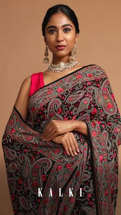 The envious and intricacies of the beautiful motifs, just shows how much effort and precision goes in to making these. These sarees are all about chic, couture and candor. Targeting the new age bold women with traditional old-world charm. Black Saree, Embroidery Saree, Georgette Sarees, Indian Outfits, Desi, Effort, Paisley, Outfit Ideas, Couture