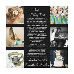 Wedding Vows Wedding Collage Wrapped Canvas