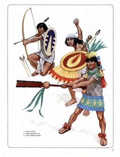 "Aztec archer, peasant levy, allied officer These are examples of non-Mexica troops who can still be considered ""Aztec"" in the broader term of the empire definition. Source: Osprey Military Men-At-Arms series 101 ""The Conquistadores"" by Terence Wise. Illustrator: Angus McBride."